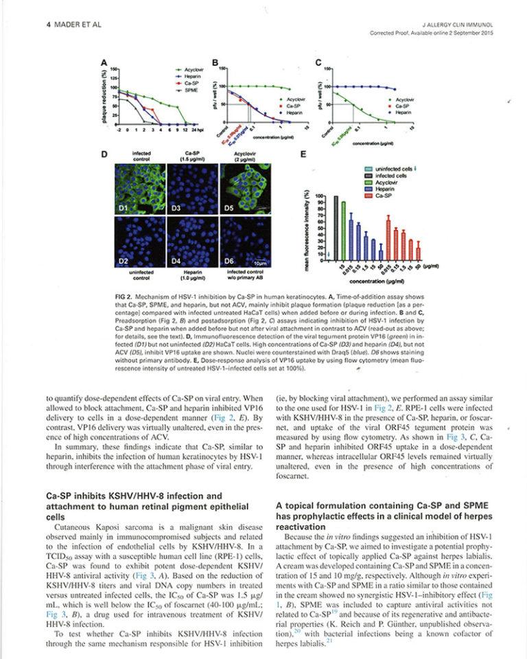 Publikation J. Mader im J. Allergy CLin Immunol. Ergebnisse in graphischer Darstellung plus Text / Beschreibung.