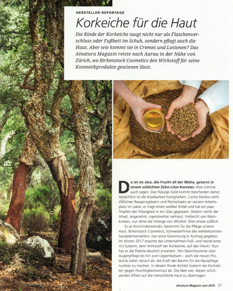 """Artikel und Interview """"Korkeiche für die Haut"""" (Seite 1) erschienen im ALNATURA MAGAZIN Juni 2019."""