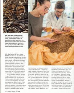 """Artikel und Interview """"Korkeiche für die Haut"""" (Seite 2) erschienen im ALNATURA MAGAZIN Juni 2019."""
