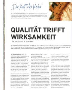 """Artikel und Interview zum Thema """"Kraft des Korks"""" erschienen im BIRKENSTOCK Mitarbeitermagazin."""