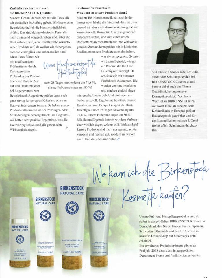 """Artikel und Interview (Seite 2) zum Thema """"Kraft des Korks"""" erschienen im BIRKENSTOCK Mitarbeitermagazin."""